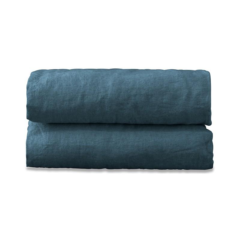 Nappe carrée en lin lavé uni Bleu Pétrole