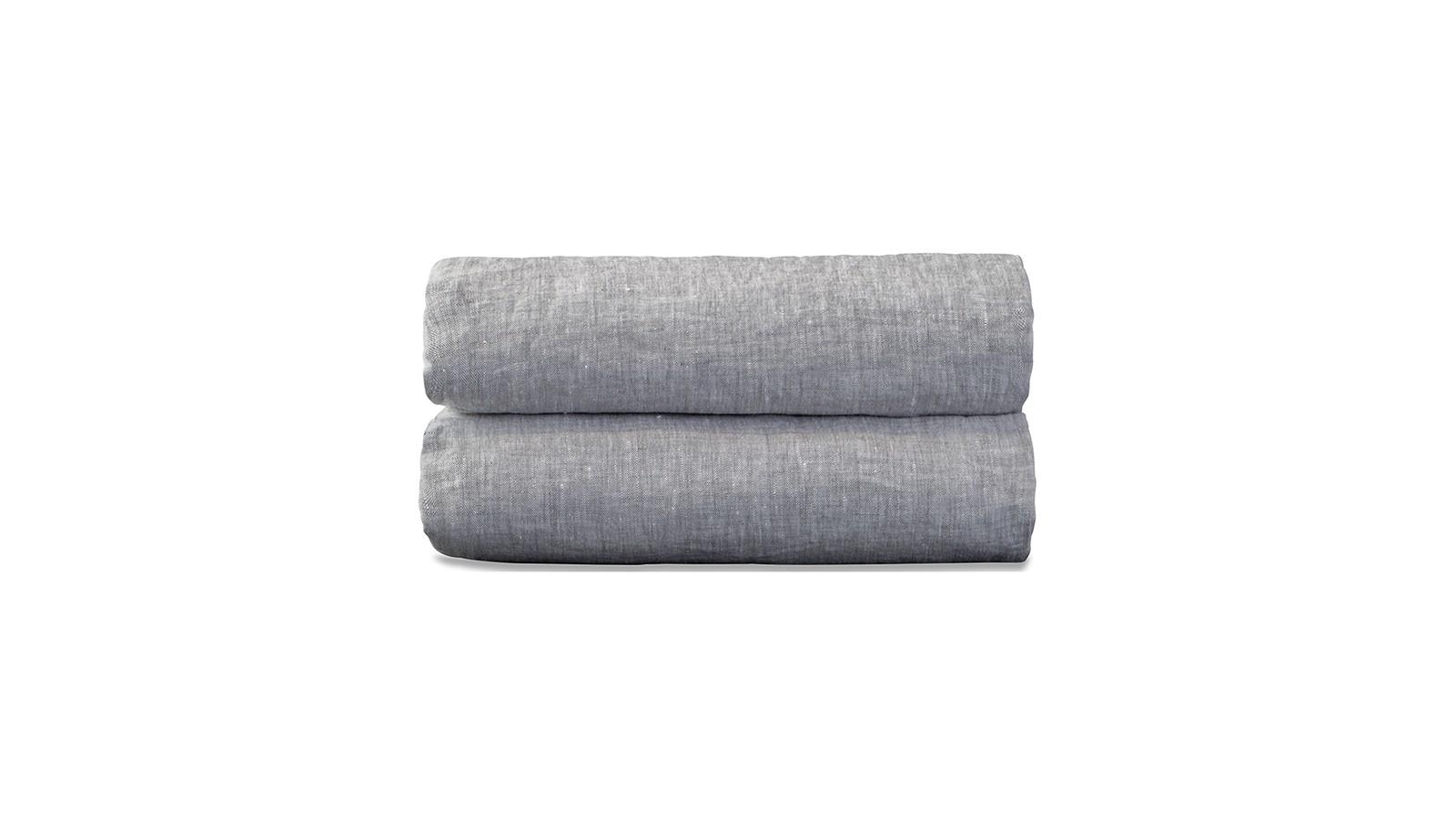 Nappe carrée en lin lavé chambray Pierre