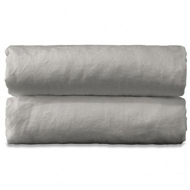 Nappe rectangulaire en lin lavé uni Argile
