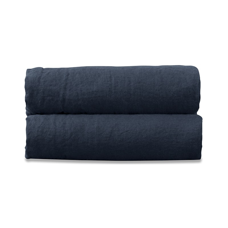 Nappe rectangulaire en lin lavé uni Bleu Encre
