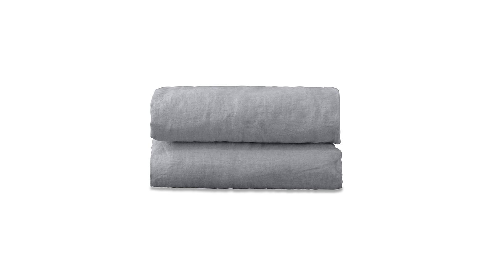 Nappe rectangulaire en lin lavé uni Gris Ciment