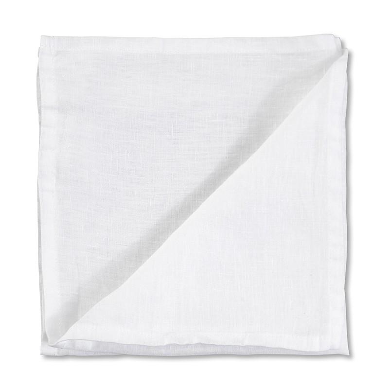 Serviette de table en lin lavé uni Blanc Optique