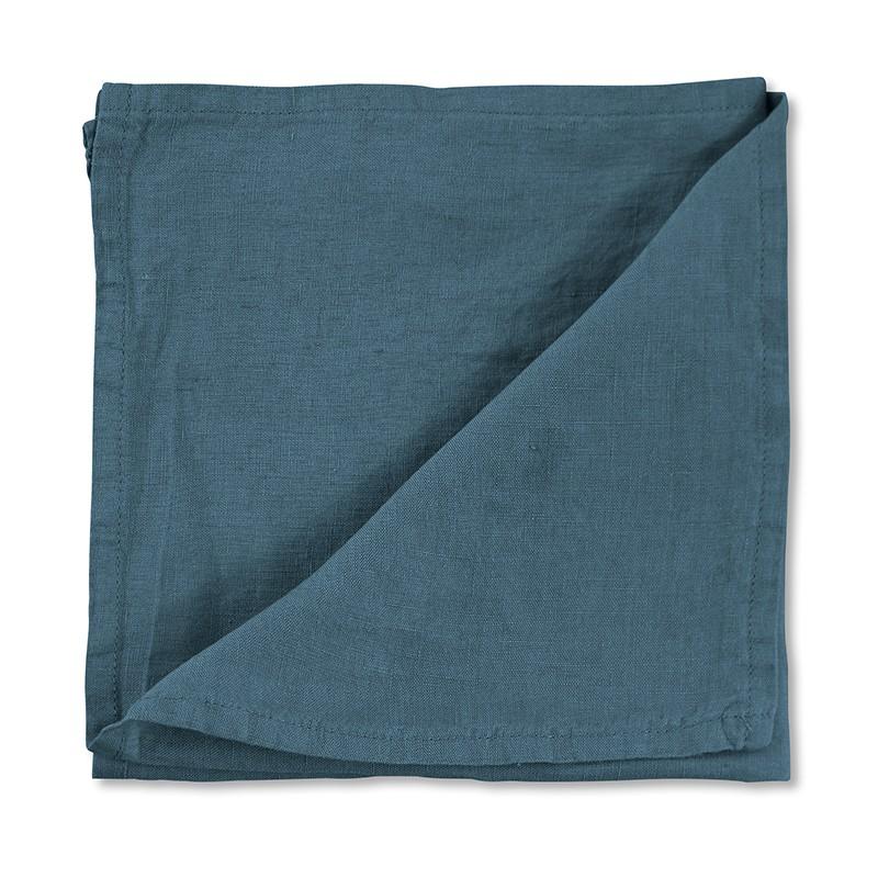 Serviette de table en lin lavé uni Bleu Pétrole