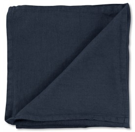 Serviette de table en lin lavé uni Bleu Encre