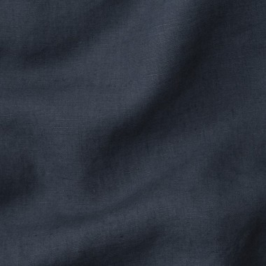 Lin lavé uni Bleu Encre