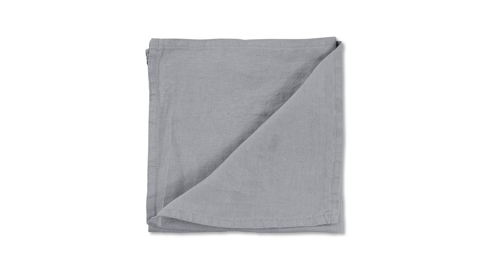 Serviette de table en lin lavé uni Gris Ciment