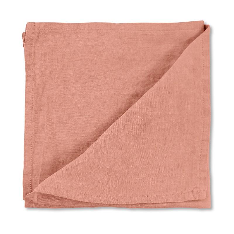 Serviette de table en lin lavé uni Rose Melba