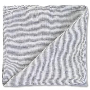 Serviette de table en lin lavé chambray Rayure Colette Denim