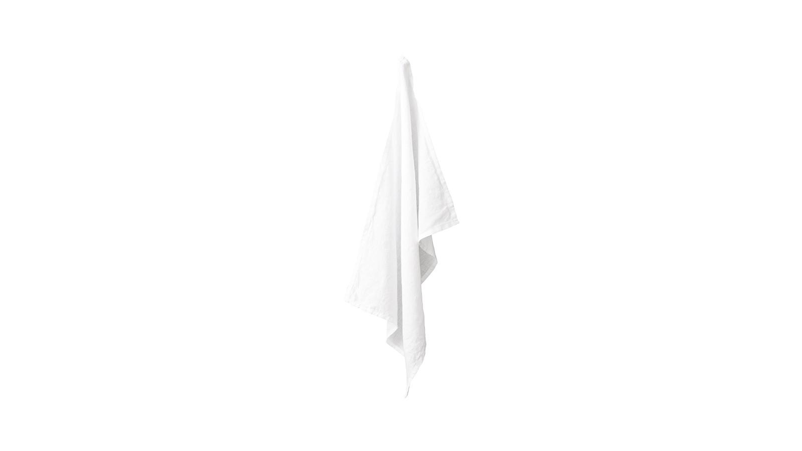 Torchon en lin lavé uni Blanc Optique
