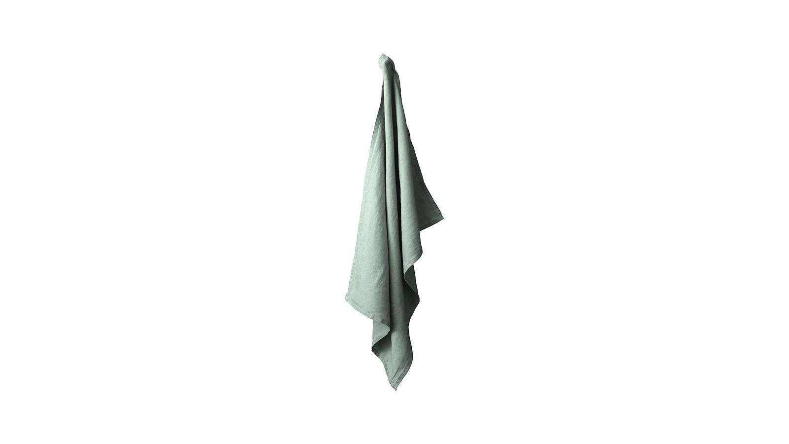 Torchon en lin lavé uni Vert Eucalyptus