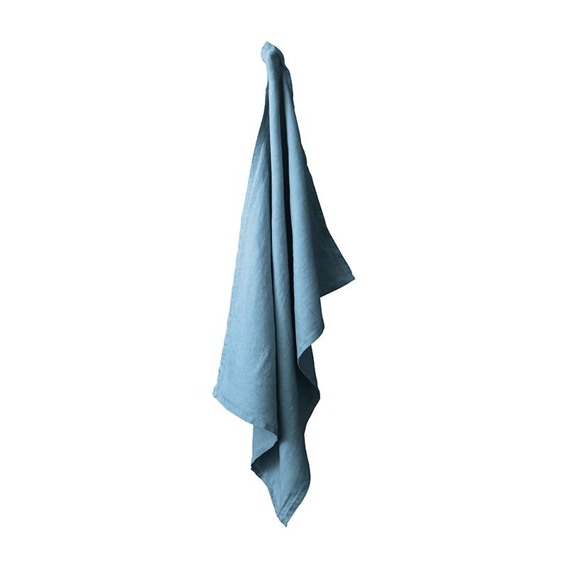 Torchon en lin lavé uni Bleu Pétrole