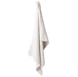 Torchon en lin lavé chambray Rayure Albert Caramel