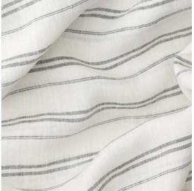 Lin lavé chambray Rayure Marcel Noir