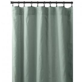 Rideau à pincer en lin lavé uni Vert Céladon