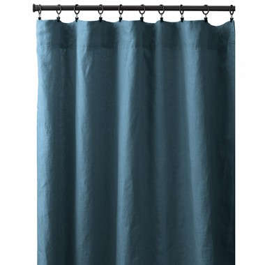 Rideau à pincer en lin lavé uni Bleu Pétrole
