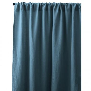 Rideau passe tringle en lin lavé uni Bleu Pétrole
