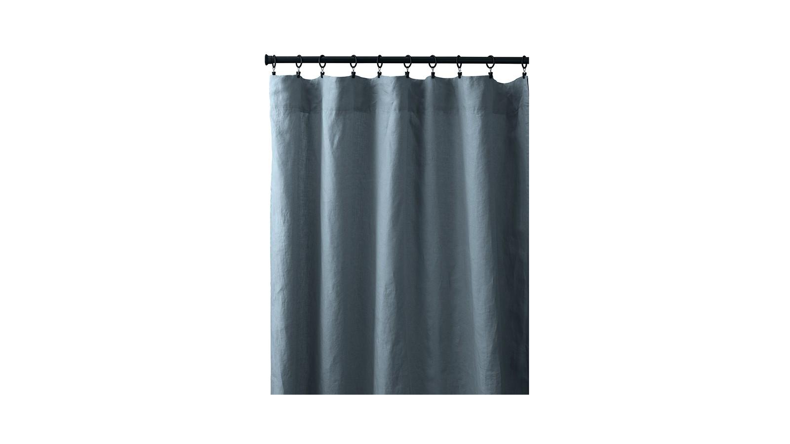 Rideau à pincer en lin lavé uni Bleu Orage