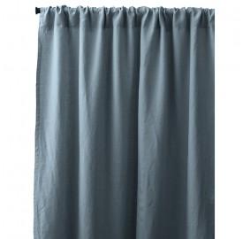 Rideau passe tringle en lin lavé uni Bleu Orage