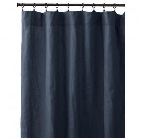 Rideau à pincer en lin lavé uni Bleu Encre