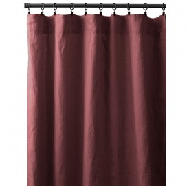 Rideau à pincer en lin lavé uni Rose Tomette