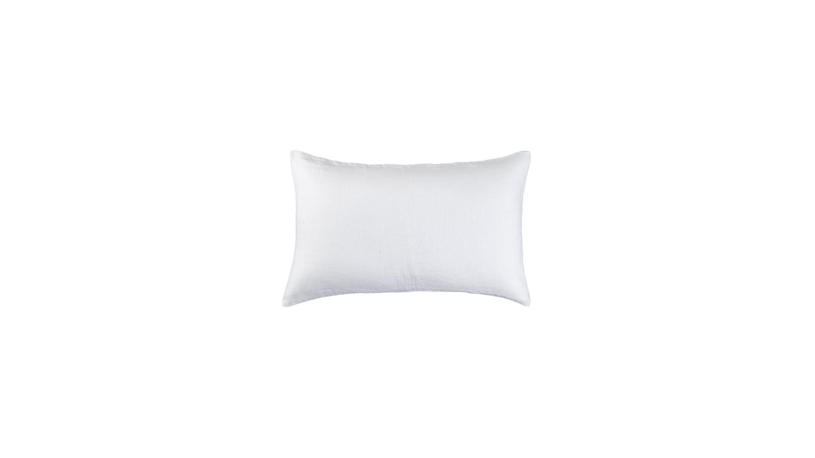 Housse de coussin rectangulaire 30 x 40 cm en lin lavé uni Blanc Optique