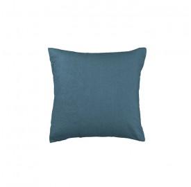 Housse de coussin carré 45 x 45 cm en lin lavé uni Bleu Pétrole